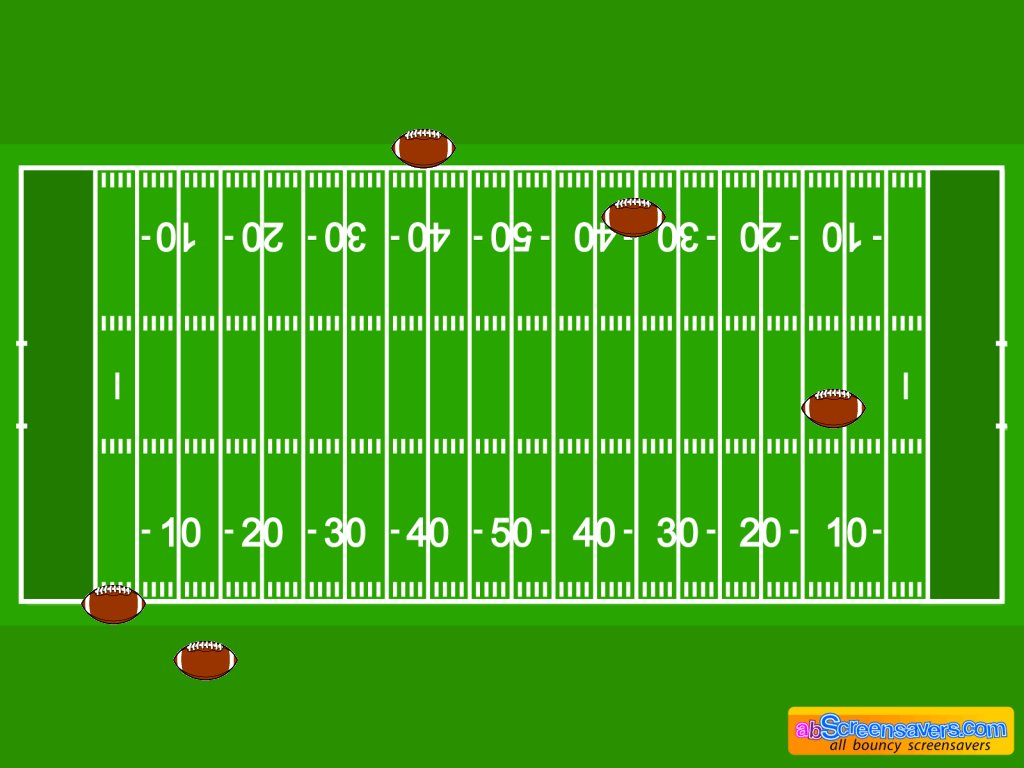 It has a American Football field background with american footballs bouncing