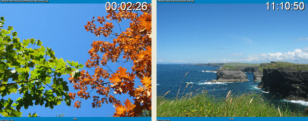 Change clock on one screen Dual screen Random Photo Screensaver Screenshot