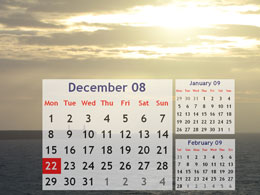 Example calendars on screensaver
